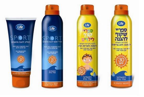 סדרת ההגנה מהשמש של Life - השניים מימין - לילדים, השניים משמאל - סדרת הספורט