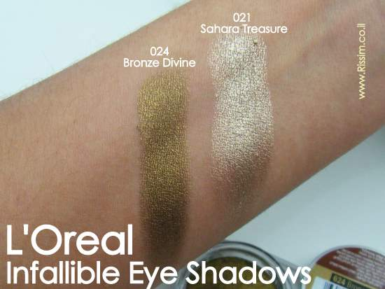 LOreal Infallible Eyeshadows swatches 21 Sahara Treasure VS 24 Bronze Divine