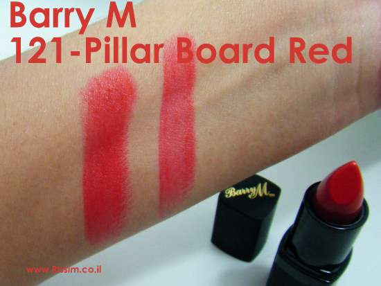 Barry M 121 - Pillar Board Red swatches
