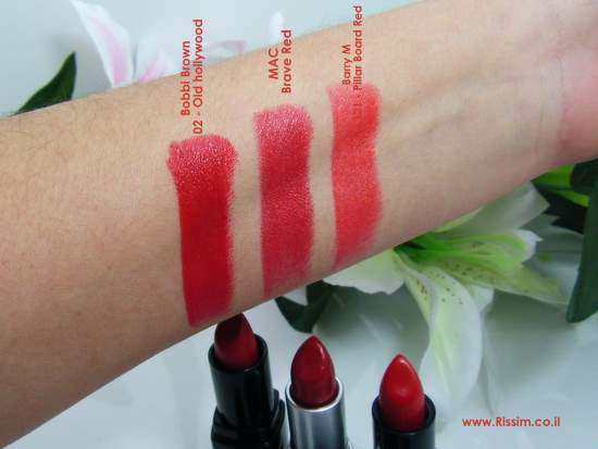 Red Lipsticks Bobbi Brown old hollywood, MAC Brave Red, Barry M Pillar Board Red swatches 1