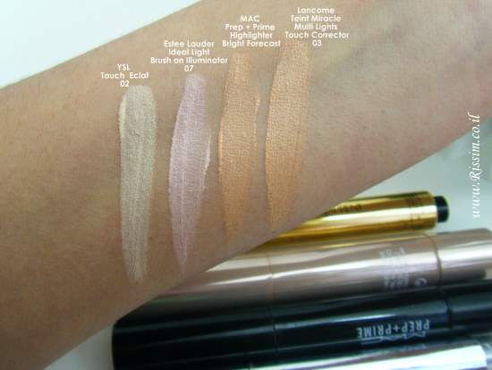 TOUCH ECLAT AND OTHER HIGHLITERS AND CORRECTORS SWATCHES