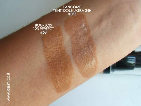 Bourjois 123 Perfect Foundation #58 swatches VS lancome teint idole ultra #055-1