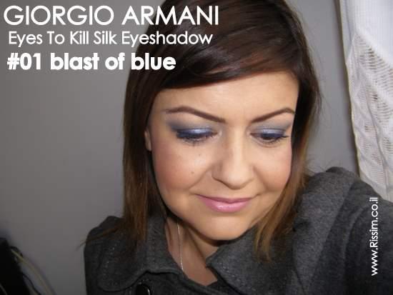 GIORGIO ARMANI Eyes To Kill Silk Eye Shadow - # 01 blast of blue swatches on eyes 4