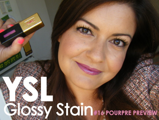 YSL GLOSSY STAINS 16 POURPRE PREVIEW swatches on lips