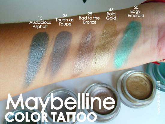 Maybeline Color Tattoo Cream Gel Eyeshadows swatches