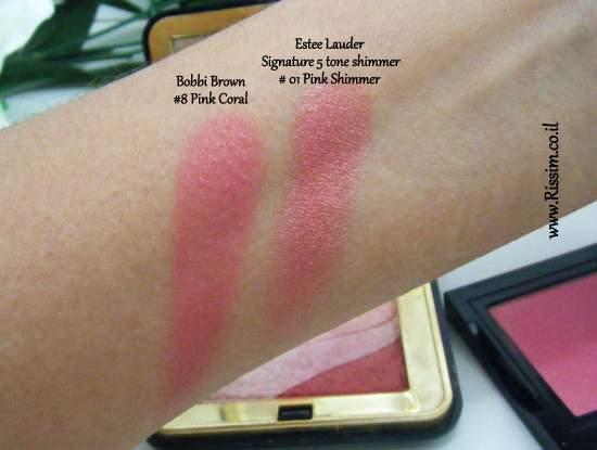Bobbi Brown #08 Pink Coral Blush swatches VS Estee Lauder Pink Shimmer