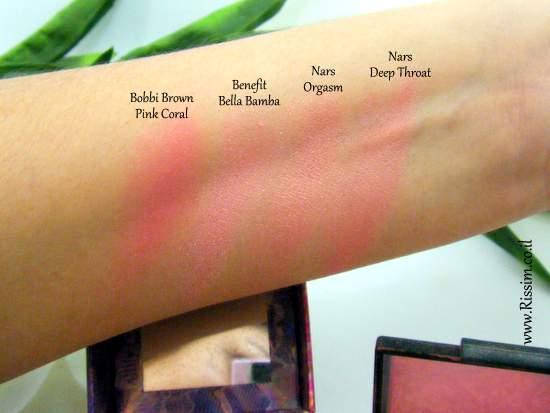 Bobbi Brown #08 Pink Coral Blush swatches VS nars benefit