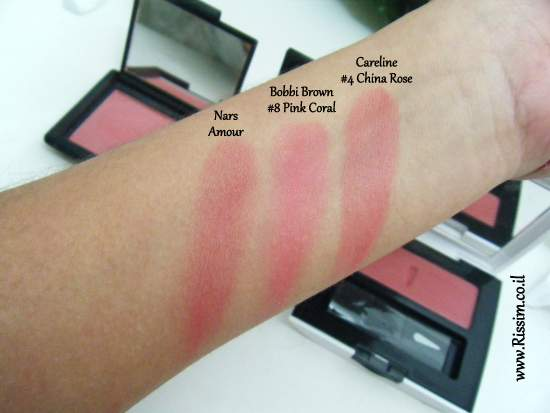 Bobbi Brown #08 Pink Coral Blush swatches VS nars careline