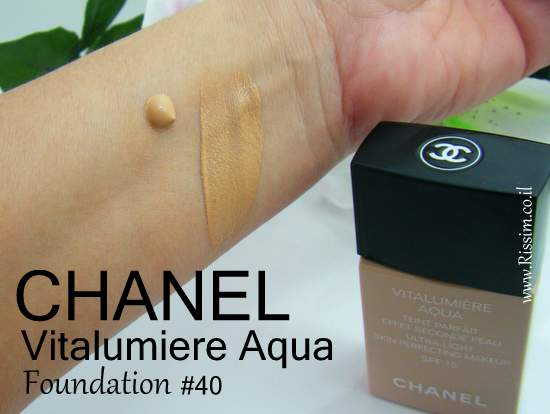 CHANEL Vitalumiere Aqua Foundation #40 swatches
