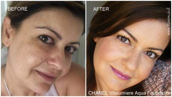 CHANEL Vitalumiere Aqua Foundation before and after