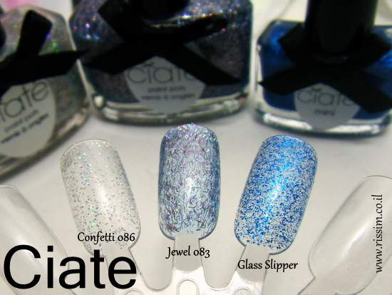 CIATE Confetti, jewel and Glass Slipper swatches
