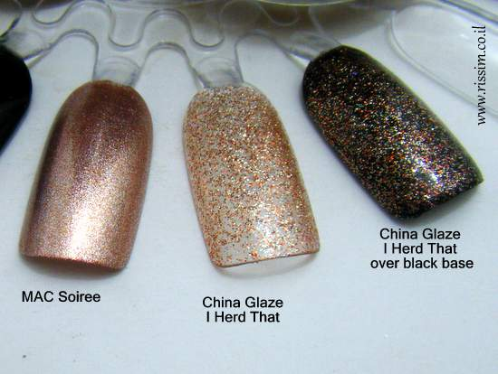 MAC Soiree and China Glaze I Herd That swatches