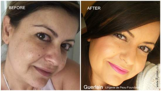Guerlain Lingerie de Peau Foundation before and after