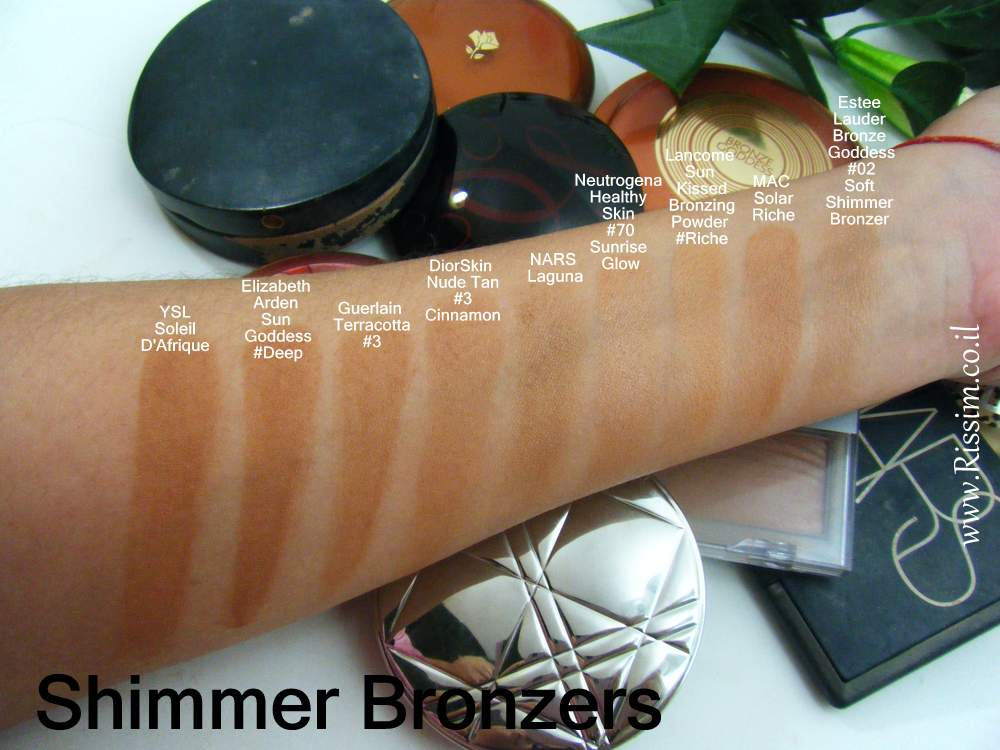 shimmer bronzers swatches