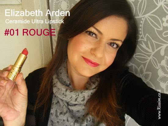 Elizabeth Arden Ceramide Ultra Lipstick #01 ROUGE swatch on lips
