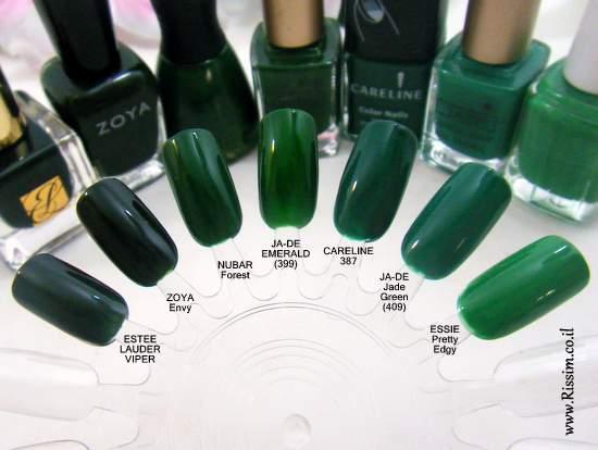 Green nail polishes