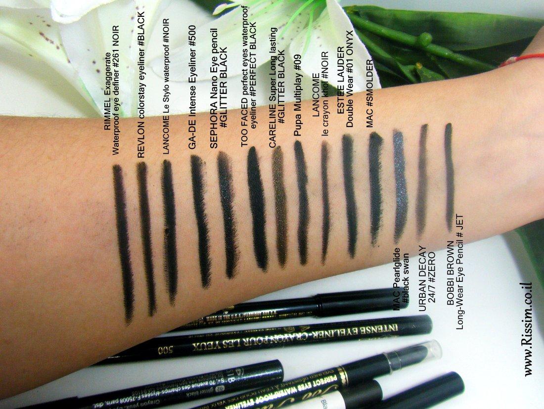 black eye pencil swatches