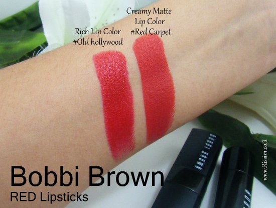Bobbi Brown creamy matte lip color #Red Carpet VS Rich lip Color #Old Hollywood