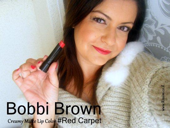 Bobbi Brown creamy matte lip color #Red Carpet on lips2