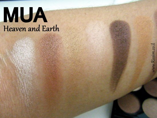 MUA Heaven and Earth Palette swatches