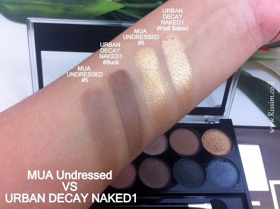 mua undressed palette VS Urban Decay NAKED swatches