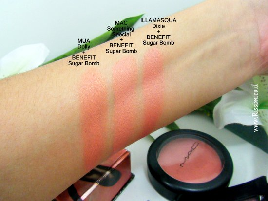 peach coral cream blushes with benefit sugar bomb swatches 1