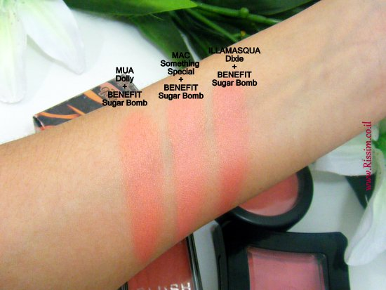 peach coral cream blushes with benefit sugar bomb swatches