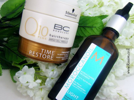 schwarzkopf Q10 masque and moroccanoil hair treatment
