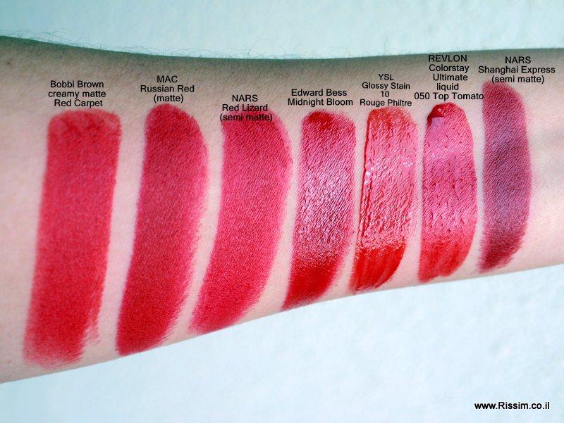 השוואה של שפתונים אדומים