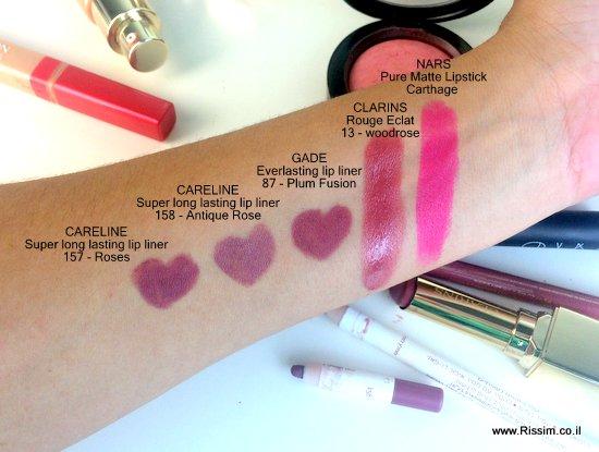 סווטשים לשפתון של נארס וקלרינס ועפרונות שפתיים של קרליין וג'ייד