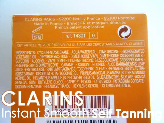 Clarins Instant Smooth Self Tanning ingredients