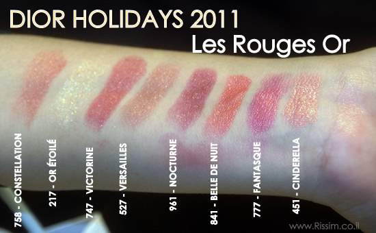 DIOR HOLIDAYS 2011 Les Rouges Or swatches