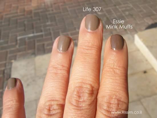 לק של לייף -  LIFE 307 מול ESSIE MINK MUFFS