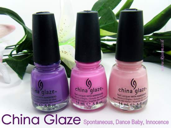 China Glaze Spontaneous, Dance Baby, Innocence