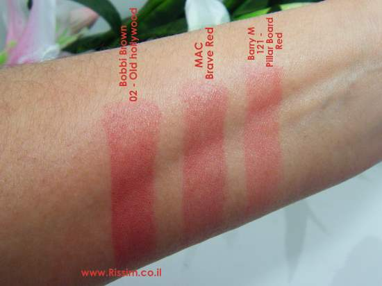 Bobbi Brown old hollywood, MAC Brave Red, Barry M Pillar Board Red