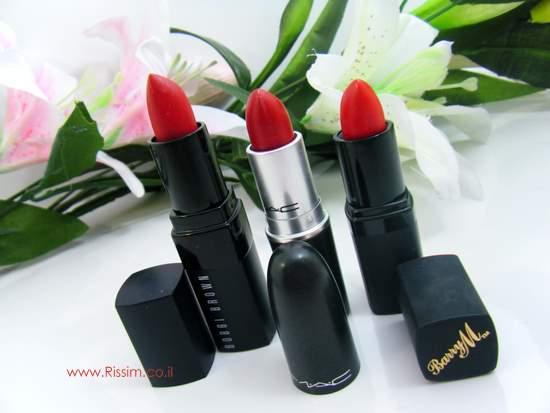 Red Lipsticks Bobbi Brown old hollywood, MAC Brave Red, Barry M Pillar Board Red