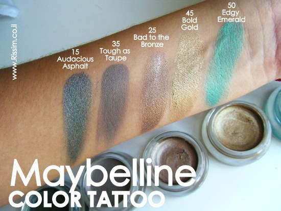 Maybeline Color Tattoo Cream Gel Eyeshadows swatches