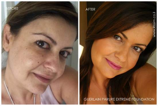 PARURE EXTREME FOUNDATION #05 swatches on face before and after