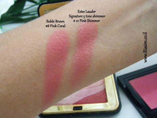 Bobbi Brown #08 Pink Coral Blush swatches VS Estee Lauder Pink Shimmer