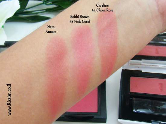 Bobbi Brown #08 Pink Coral Blush swatches VS nars careline