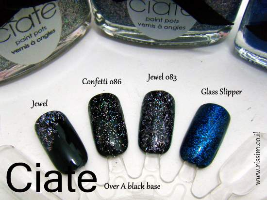 CIATE Confetti, jewel and Glass Slipper swatches over a black base