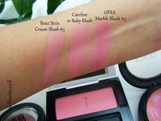 Careline Color Blush 01 Baby Blush swatches VS OFRA BOAZ STEINCareline Color Blush 01 Baby Blush swatches VS OFRA BOAZ STEIN