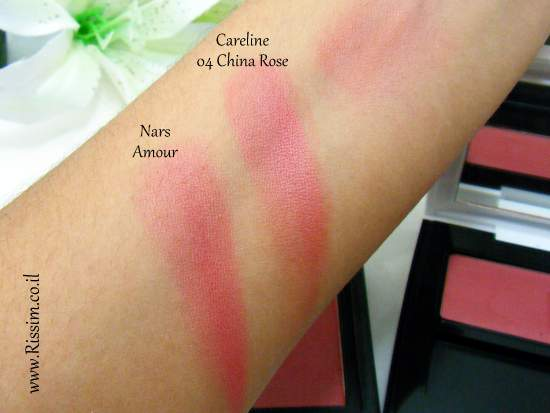Careline Color Blush 04 China Rose swatches VS NARS Amour