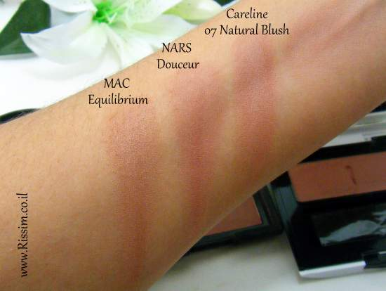 Careline Color Blush 07 Natural Blush swatches VS nars mac