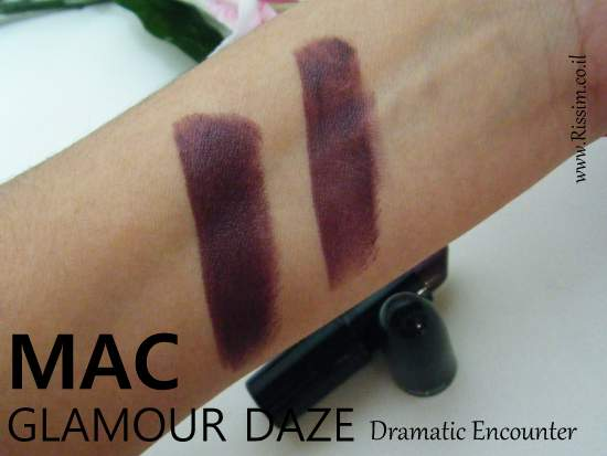 MAC Glamour Daze Collection Dramatic Encounter lipstick swatches
