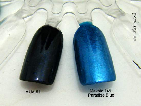 Mavala 149 Paradise Blue and MUA #1 swatches