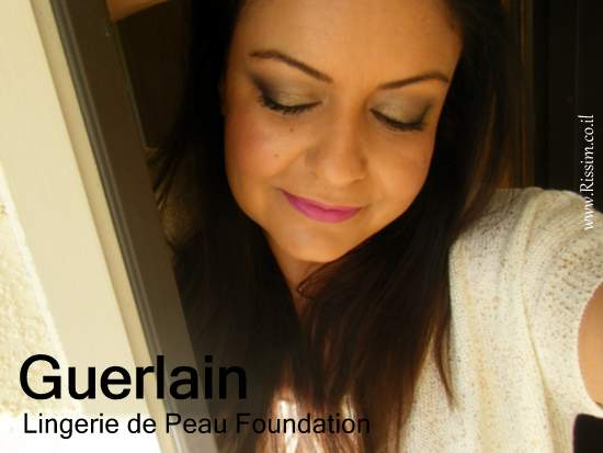 Guerlain Lingerie de Peau Foundation swatches on face