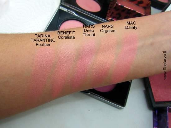 Tarina Tarantino Dollskin cheek palette swatches comparison 4