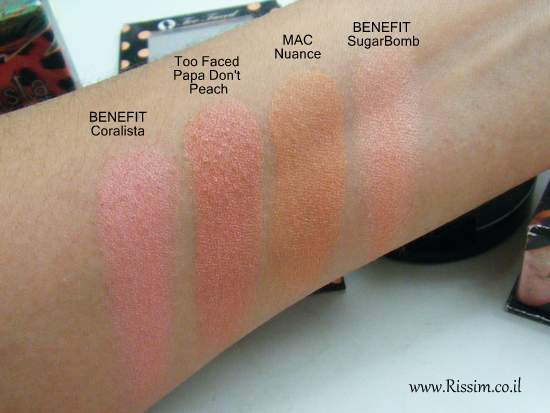 Too Faced Papa Don't Peach swatches comparison 1