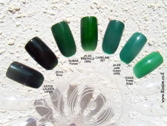 Green nail polishes 1